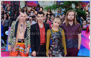 18 June 2017 - Toronto, Ontario, Canada.  Cole Whittle, Joe Jonas, JinJoo Lee, and Jack Lawless of DNCE arrive on the pink carpet at the 2017 iHeartRadio MuchMusic Video Awards at MuchMusic HQ. Photo Credit: Brent Perniac/AdMedia